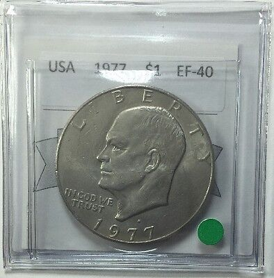 1977D USA One Dollar Coin Mart Graded EF-40