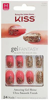 KISS Gel Fantasy 24 NAILS Glue/Press-On PINK+CONFETTI+GLITTER Medium #60666 3/10