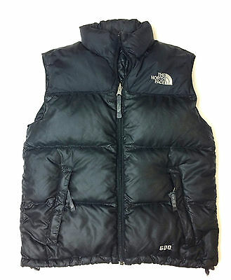 Boys M The North Face Black Classic Goose Down Filled Zip Polyester/Nylon Vest