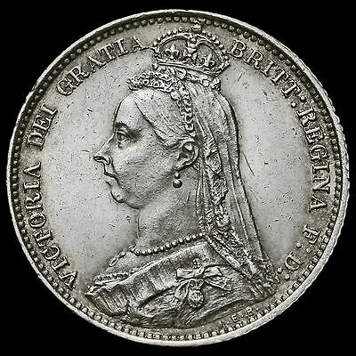 1888 Queen Victoria Jubilee Head Silver Sixpence, EF #2