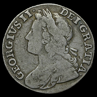 1739 George II Early Milled Silver Shilling