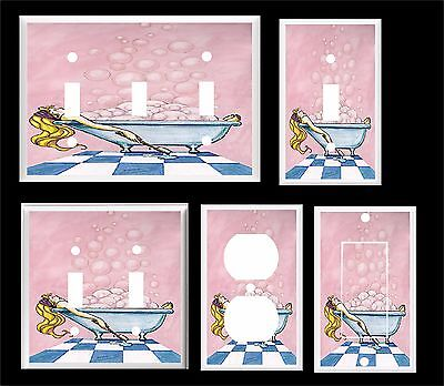 Girl In Bubble Bath Tub Bathroom Decor  Light Switch Cover Plate