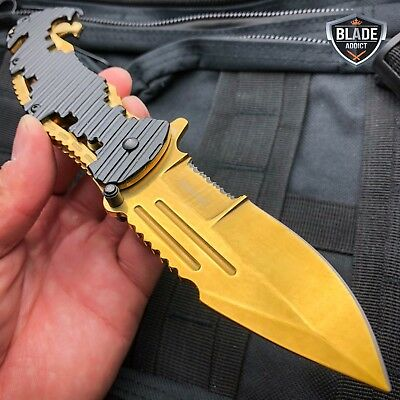TAC-FORCE GOLD Military Spring Assisted Open Tactical Rescue Pocket Knife NEW!