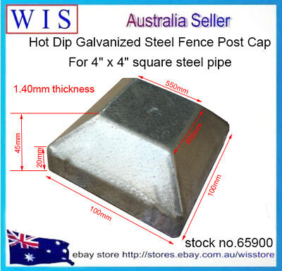 """Push On Steel Post Cap for Steel Post 4"""" Square Pipe,Hot Dipped Galvanised-45900"""