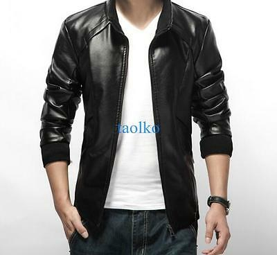 Fashion Men Thicken PU Leather Slim Fit Jacket Casual Coat Motorcycle Outwear