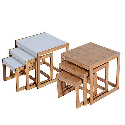3pcs Set of Coffee End Side Table Nested Tables Bamboo Modern Square Wooden NEW