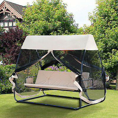 Patio Swing Hammock Outdoor Furniture Convertible Bench Chair Bed w/ Canopy Mesh