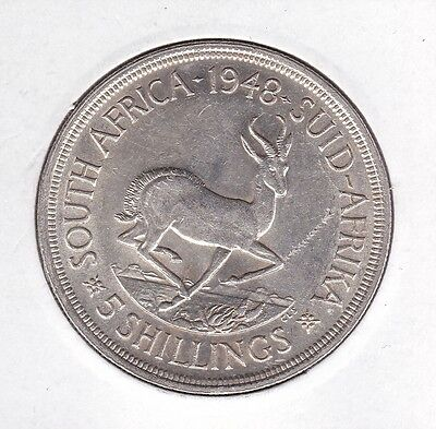 Sth Africa, Uncirculated 1948 silver five shilling coin
