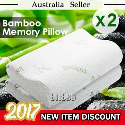 1/2 Pack Luxury Bamboo Memory Foam Fabric Fibre Cover Contour Pillow 50 x 30cm A