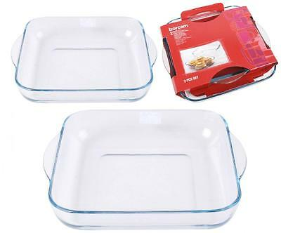 Set Of 2 Glass High Temperature Oven Baking Roast Roasting Square Dish Bakeware