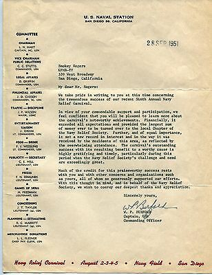 1951 Original Letter To SMOKEY ROGERS From Navy Commander