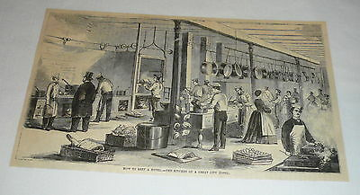 1877 magazine engraving ~ THE KITCHEN OF A GREAT CITY HOTEL
