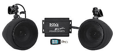 Boss Audio 600w Speakers+Amplifier+Remote Handlebar System 4 Motorcycle/ATV/UTV
