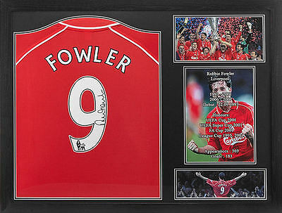 Framed Robbie Fowler Signed Liverpool 2001 Final Football Shirt With Coa Proof