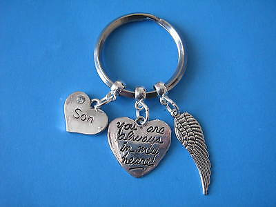 In Memory of Son Keyring Bereavement Gift Heart Charm Son Angel Wing Charm