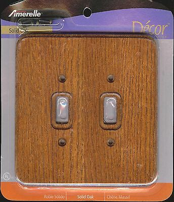 New Amerelle Decor Collection Solid Oak Double Toggle Wall Switch Plate