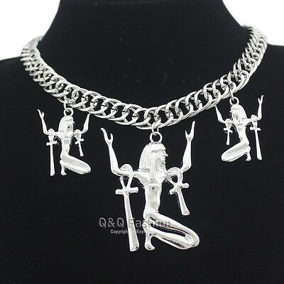 Ancient Egyptian Victorian Cleopatra Queen Goddess Isis Ankh Cross Bib Necklace