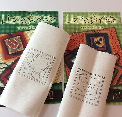 Lizzie Kate Punchneedle Embroidery Holiday Gingerbread Halloween Bat Hang Ups