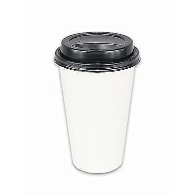 2dayShip 100 Pack WHITE Paper Coffee Hot Cups with BLACK Travel Lids - 16 New