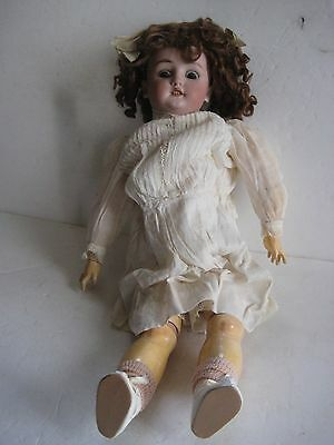 "c. 1900 22"" M. BERGMAN/SIMON & HALBRIG #9 BISQUE HEAD GERMAN DOLL - ORIGINAL WIG"