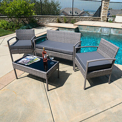 Outdoor Garden Patio 4pc Cushioned Seat Mix Gray PE Wicker Sofa Furniture Set
