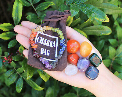 CHAKRA KIT: 7 Tumbled Stones Set & Instructions & Pouch & Chakra Chip Bracelet