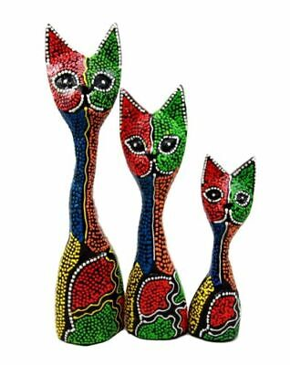 Balinese Wood Handicrafts Abstract Colorful Feline Cat Family Set of 3 Figurines