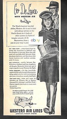 Western Airlines Dc-4 Skymaster 1946 Between Oakland/san Francisco/lax Deluxe Ad