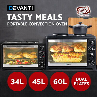 DEVANTI Portable Electric Oven Convection Bake 34L 45L Hot Plate Air Fryer