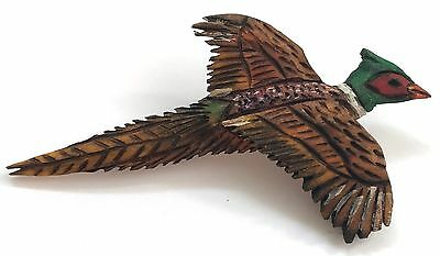 Vintage Wooden Wood Pheasant Bird Hand Carved Painted Pin Signed Brooch OOAK