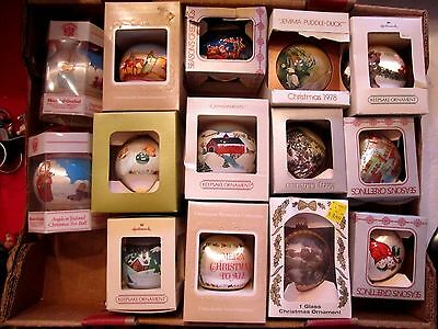 1980s Vintage lot of 15 Goebel, Hallmark & More Boxed Ornaments. Satin, Ball.