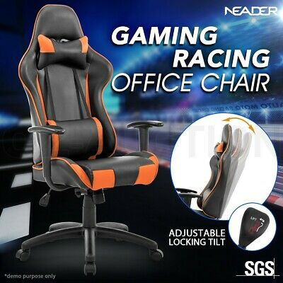 High Back Sport Gaming Racing Adjustable Orange Leather Office Computer Chair