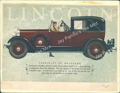 AKH-949 Antique Print 1928 Lincoln Cabriolet by Holbrook Advertisement Ad