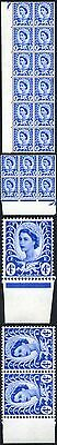 Wales XW5 4d Ultramarine Crowns Wmk 21 Examples in Blocks and Strips