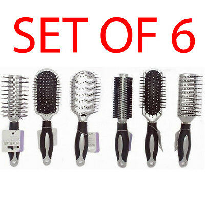 Set Of 6 Hair Styling Brush 23Cm Cushion Comb Hairdressing Style Professional