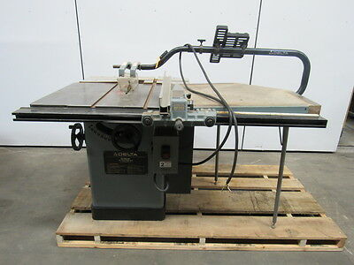 """DELTA 10"""" UNISAW Tilting Arbor Table Saw 5 HP 3Ph Extended Table & Outfeed"""