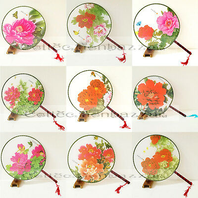 12pcs Oriental Chinese Silk Floral Paddle Dancing Hand Fans Mixed Pattern
