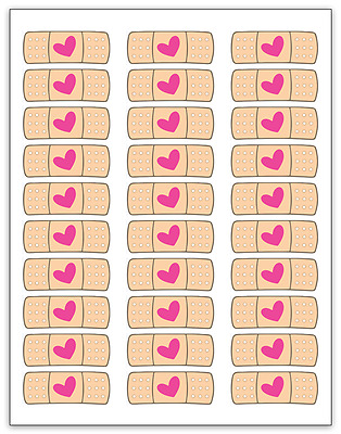 "30 Doc McStuffins Heart Band Aid Labels / Stickers, 1"" x 2-5/8"""