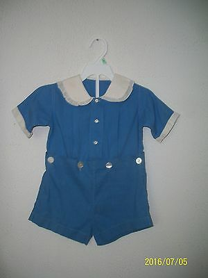 Vintage 1930's Two-Piece Boy's Cotton Romper