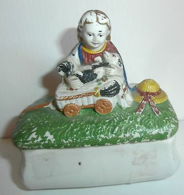 C1830 miniature Staffordshire Little red  girl   with    skunks