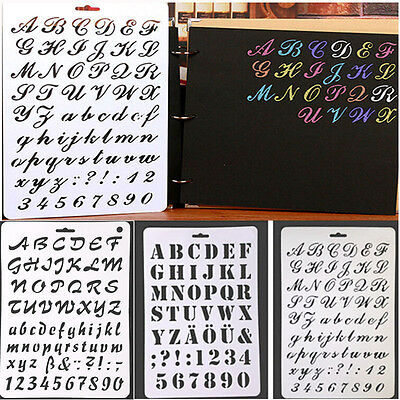 3 Style Letter Alphabet Number Layering Stencils Template Embossing Scrapbooking