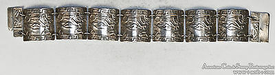 Peru Peruvian Sterling Silver .925 Incan Panel Prayer bracelet Vintage 7''