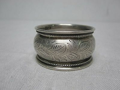 "Antique Sterling Silver 1"" Napkin Ring W/ Etched Leaf Beaded Edge"