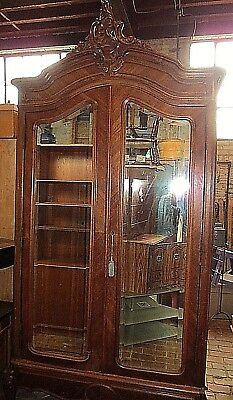 Antique Victorian Renaissance 2 Door Wardrobe Armore Solid Wood Mirrored Front