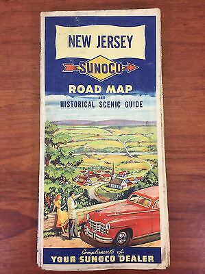 Vintage 1940's Sunoco Gas & Oil Collectible New Jersey Advertising Road Map
