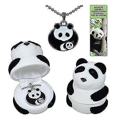 Panda mother with baby cub necklace gift set in black and white velour panda