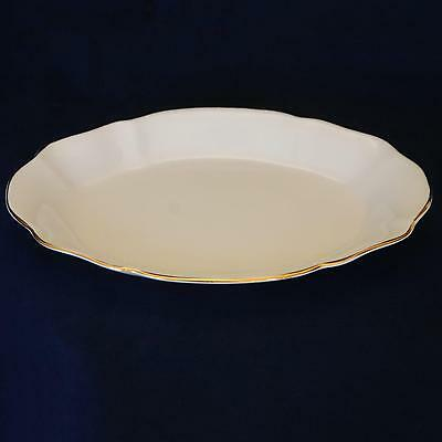 ROYAL STANDARD_All White Scalloped Small Oval Tray_Gold Trim_Bone China_England