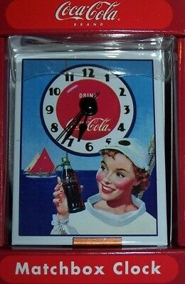 Coca-Cola Brand Official Matchbox Clock Ocean Girl Sailing Birthday Gift New