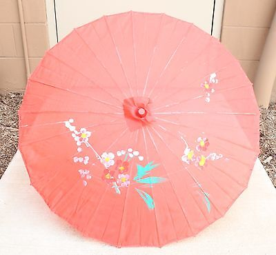 """22"""" Inch tall Red Floral Wood Bamboo Nylon Parasol Umbrella Decoration Gift"""