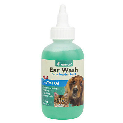NaturVet EAR WASH Tea Tree Oil with Aloe Cleans Ear Canal For Dogs Cats 4 oz